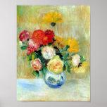 Vase de roses et de dahlias par la copie de Renoir Posters