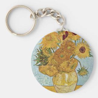 Vase mit 12 Sonnenblumen durch Vincent van Gogh Standard Runder Schlüsselanhänger