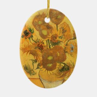 Vase mit 15 Sonnenblumen durch Vincent van Gogh Ovales Keramik Ornament