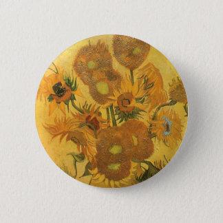 Vase mit 15 Sonnenblumen durch Vincent van Gogh Runder Button 5,7 Cm
