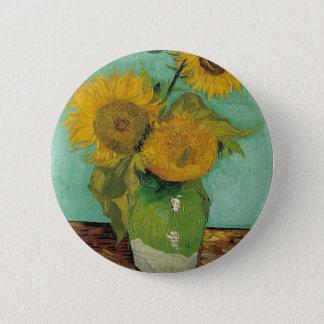 Vase mit drei Sonnenblumen, Vincent van Gogh Runder Button 5,7 Cm