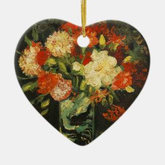 Vase mit Gartennelken, Vincent van Gogh Keramik Herz-Ornament
