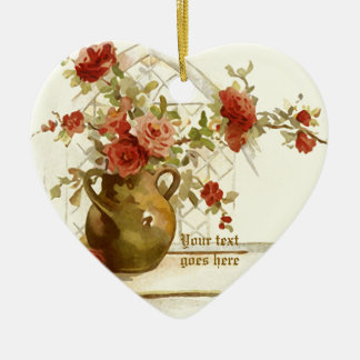 Vase mit Rote Rosen Vintager Watercolorverzierung Keramik Herz-Ornament