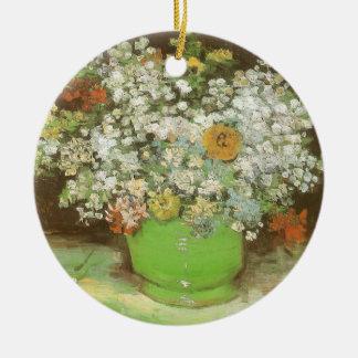 Vase mit Zinnias und Blumen durch Vincent van Gogh Rundes Keramik Ornament