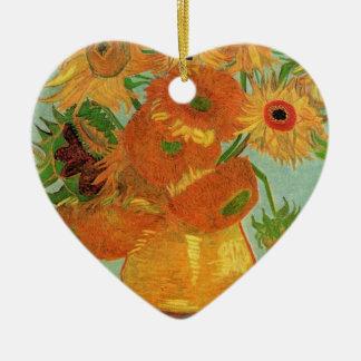 Vase mit zwölf Sonnenblumen, Vincent van Gogh. Keramik Herz-Ornament