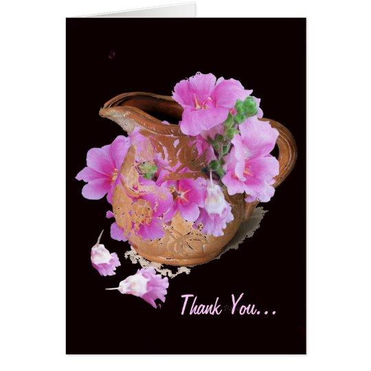 Vase und Blumen… danken Ihnen… Karte