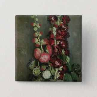 Vase Vincent van Goghs   Hollyhocks, 1886 Quadratischer Button 5,1 Cm