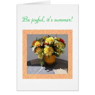 Vase voll Ringelblumen Grußkarte