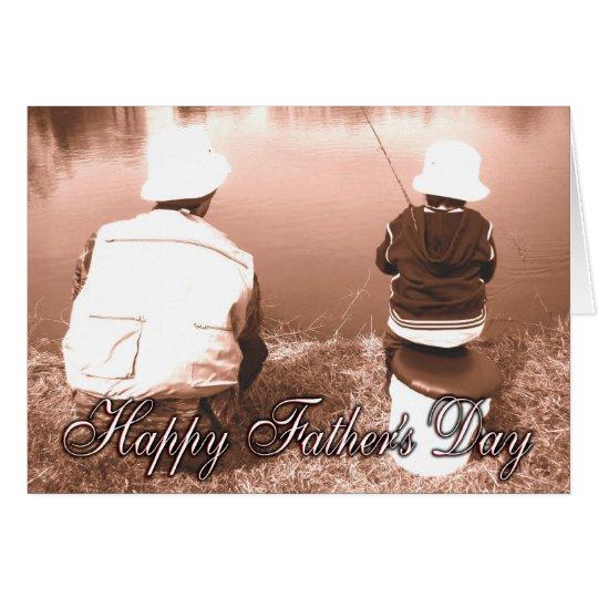 Vater-und Sohn-Fischen - der glückliche Vatertag Grußkarte
