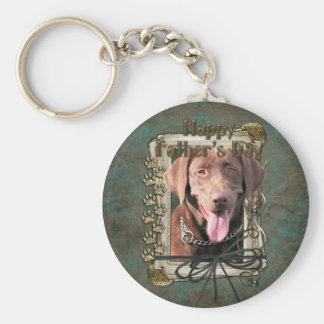 Vatertag - Labrador - Schokolade Standard Runder Schlüsselanhänger