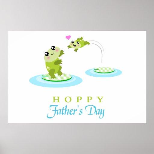 Vatertag niedlicher Frosch-der hopfenreiche glückl Posterdruck