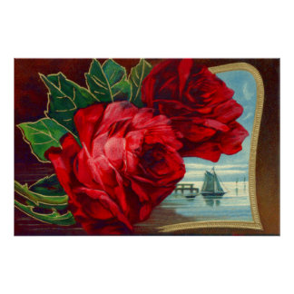 Vatertag Rosen-Segelboot-Ozean-der Vintage Poster
