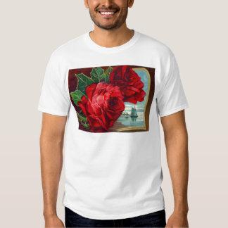 Vatertag Rosen-Segelboot-Ozean-der Vintage T-shirt