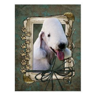 Vatertag - Steintatzen - Bedlington Terrier Postkarte