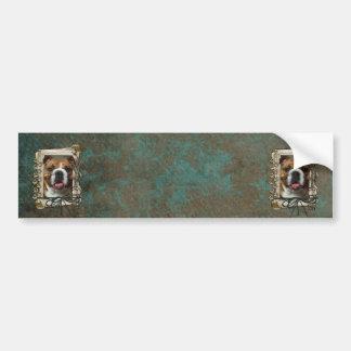 Vatertag - Steintatzen - Bulldogge Autoaufkleber