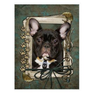 Vatertag - Steintatzen - französische Bulldogge - Postkarte