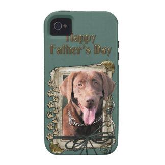 Vatertag - Steintatzen - Labrador - Schokolade Case-Mate iPhone 4 Cover