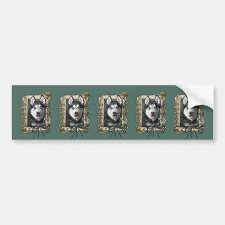 Vatertag - Steintatzen - sibirischer Husky Autoaufkleber