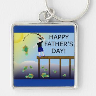 Vatertags-Vatervati Fischenfisch- Silberfarbener Quadratischer Schlüsselanhänger