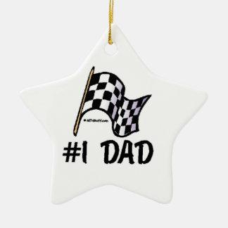 Vati der Rennen-Flaggen-#1 Keramik Stern-Ornament
