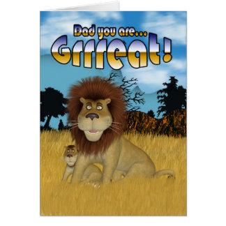 Vati der Vatertags-Karte - Löwe und CUB