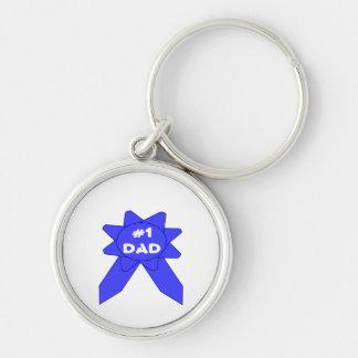 Vati des blauen Band-#1 Silberfarbener Runder Schlüsselanhänger