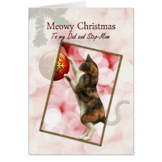 Vati und Stiefmutter, Meowy Weihnachten Karte