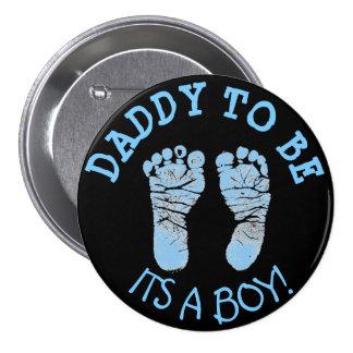 Vati, zum Babyparty-Knopf-Schwarzes und Blau zu Runder Button 7,6 Cm