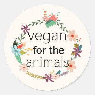 Vegan für den Tierblumenentwurfsaufkleber Runder Aufkleber