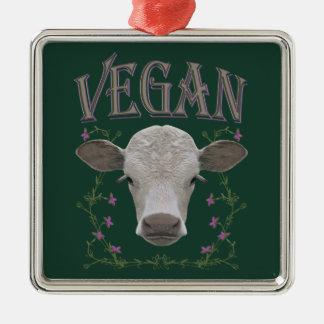 Vegan - Tiere wollen leben Silbernes Ornament
