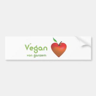 Vegan von ganzem Herzen (rotes Apfelherz) Autoaufkleber