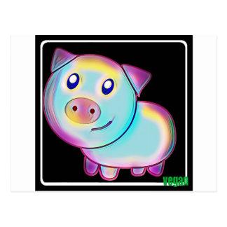 Veganes farbiges Schwein Postkarte