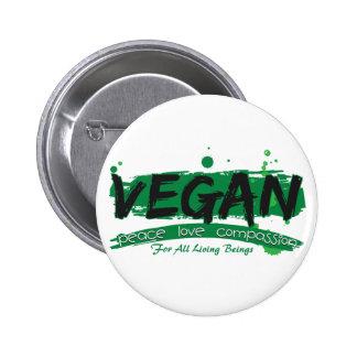 Veganes FriedensLiebe-Mitleid Runder Button 5,1 Cm