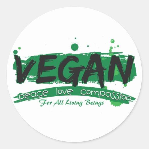 Veganes FriedensLiebe-Mitleid Sticker
