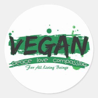 Veganes FriedensLiebe-Mitleid Runder Aufkleber