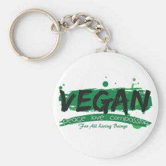 Veganes FriedensLiebe-Mitleid Standard Runder Schlüsselanhänger