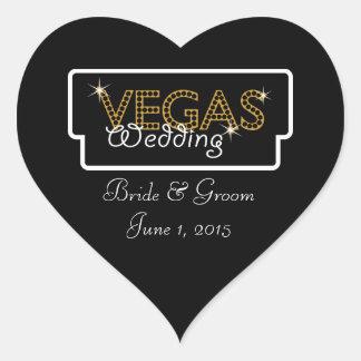Vegas beleuchtet schwarze Hochzeits-Aufkleber Herz Sticker
