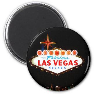 Vegas-Zeichen-Lit oben Runder Magnet 5,7 Cm