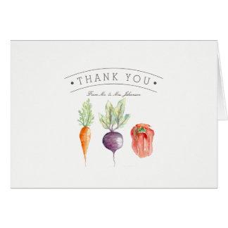 Veggie-Flecken-Aquarell danken Ihnen zu kardieren Karte