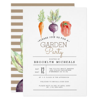 Veggie-Flecken| Watercolor-Garten-Party Karte