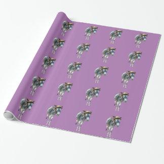Veilchen der Esel im Strohhut mit Blumen Einpackpapier