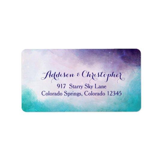 Veilchenu. TürkisWatercolor personalisiert Adressaufkleber