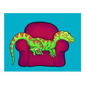Velociraptor, der auf Couch fünf weitere Minuten Postkarte
