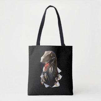 Velociraptor-Dinosaurier ganz vorbei - drucken Sie Tasche