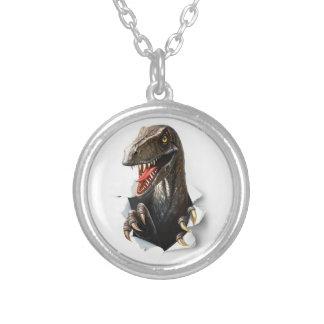 Velociraptor-Dinosaurier-Halskette Versilberte Kette