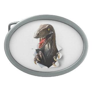 Velociraptor-Dinosaurier-ovale Gürtelschnalle