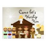 Venez adorez-le carte postale de Noël de nativité