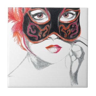 Venezianischer Masken-Mädchen-Rubin Kleine Quadratische Fliese