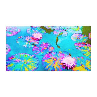 Verändertes Lilypads mit rosa Wasserlilien Leinwanddruck