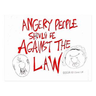 Verärgerte Leute sollten gegen das Gesetz sein Postkarte